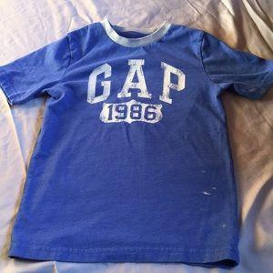 Blue Shirt with Gray Neckline